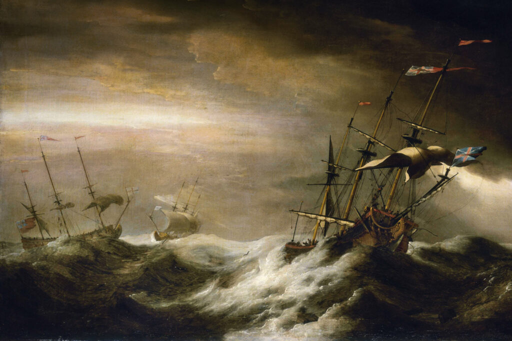 SHIPS-AT-SEA-IN-STORM-Johan-van-der-Hagen-Public-Domain